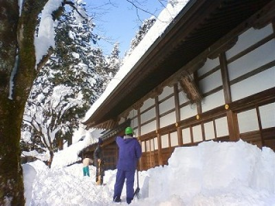 永平寺様での雪下ろし