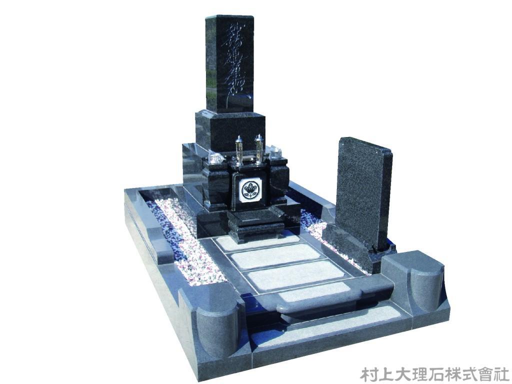 墓石と外柵を黒系で統一下例