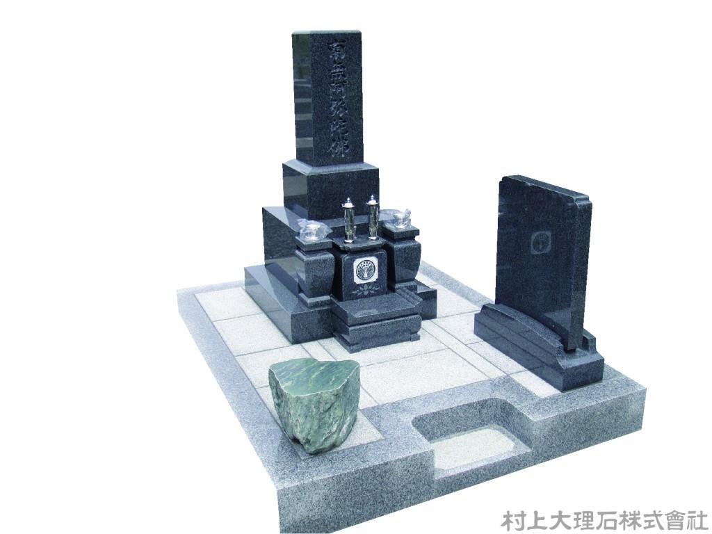 黒系墓石と白系石張りのコントラスト